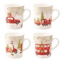 Christmas Tree Travel Mugs, Set of 4