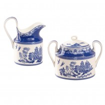 Blue Willow Bone China Sugar Creamer Set