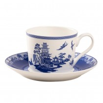 Blue Willow Bone China Blue/White Cup Saucer, Set of 4