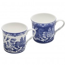 2 Assorted Blue Willow Bone China Blue/White Mugs, Set of 4