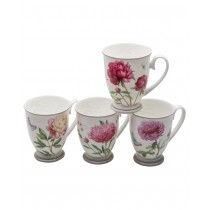 4 Assorted Dahlia Footed Bone China Mugs, Set of 4