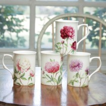4 Assorted Dahlia Floral  Can Mugs, Set of 4