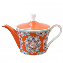 Bone china Moroccan Tile Orange Teapot