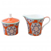 Bone China Moroccan Tile Orange Sugar Creamer set
