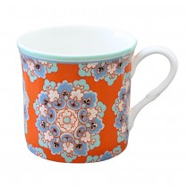 Bone China Moroccan Tile Orange Mugs, Set of 4