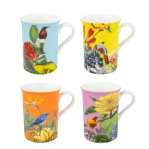 4 Associate Tropical Garden Mugs, Set of 4