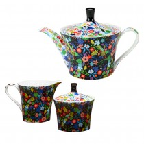 Modern Floral Black Bone China Sugar & Creamer