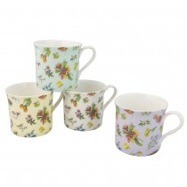 4 Color Spring Meadow Bloom Mugs, Set of 4