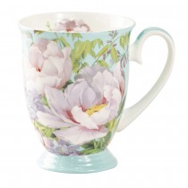 Bone China Peony Bloom Blue Footed Mug, Set of 4