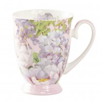 Bone China Peony Bloom Pink Footed Mug, Set of 4