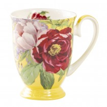 Bone China Peony Bloom Butter Footed Mug, Set of 4