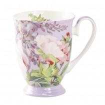 Bone China Peony Bloom Purple Footed Mug, Set of 4