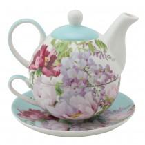 Floral Mist Blue  4 Piece Tea for One