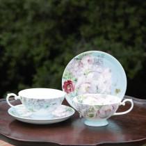 Bone China Peony Bloom Blue Tea/coffee  Cups and Saucers, Set of 4