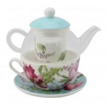 Floral Mist Blue Glass 5 Piece Tea for One