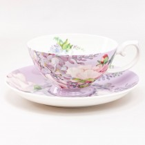 Bone China Peony Bloom Purple Tea/coffee  Cups and Saucers, Set of 4