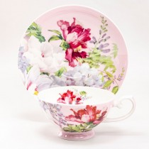 Bone China Peony Bloom Pink Tea/coffee  Cups and Saucers, Set of 4