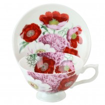Bone China Red Poppy Tea/coffee Cups and Saucers, Set of 4
