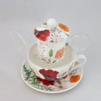 Poppy Field Glass Tea for One 5 Piece Set