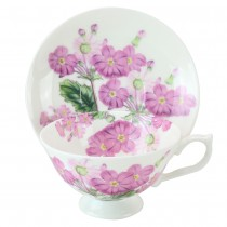 Bone China  Pink  Zinnia Tea/coffee Cups and Saucers, Set of 4
