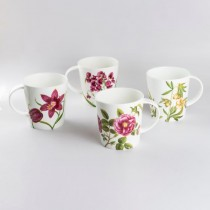 4 Assorted Peach Glory Bone China Mugs, Set of 4