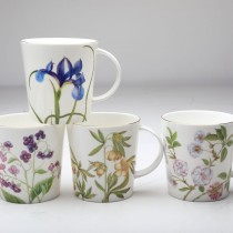 4 Assorted 16 oz Bone China Peach Glory Mugs, Set of 4