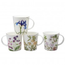 4 Assorted Pink Blue Glory Mugs. Set of 4