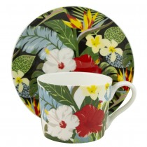 Bird of Paradise Bone China Cups with Saucers, Set of 4