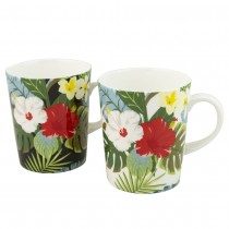 Bird of Paradise Bone China Mugs, Set of 4