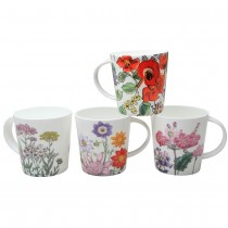 4 Assorted Orange Pink Glory Mugs, Set of 4