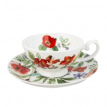 Poppy Buzz Cups with Saucers, Set of 4