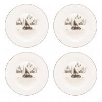 Wonderland Black Christmas Tree/Car Bone China Dessert Plates, Set of 4