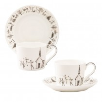 Wonderland Black Christmas Ski Bone China Cup Saucer, Set of 4