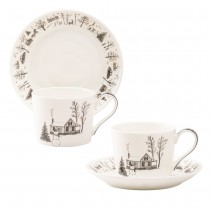 Wonderland Black Christmas Snowman Bone China Cup Saucer, Set of 4