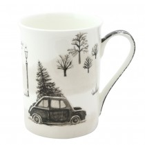 Wonderland Black Chrismas Car Bone China Mugs, Set of 4