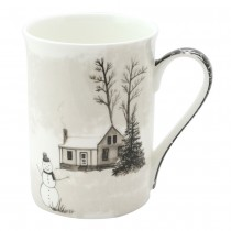 Wonderland Black Snowman Bone China Mugs, Set of 4