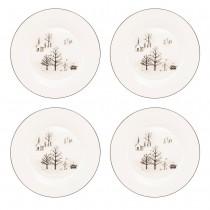 Wonderland Black Christmas Wonderland Bone China Dessert Plates, Set of 4