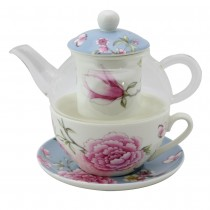 Magnolia and Rose Blue Glass Tea for One 5 Piece Set