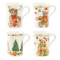 Christamas Tree and Bears 4 Assorted  Bone China Mugs, Set of 4