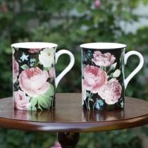 Midnight Victorian Rose Bone China  Can Mugs, Set of 4