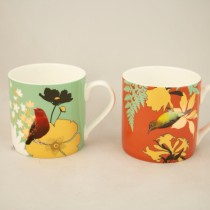Dream Finch Paradise Bone China Mugs, Set of 4