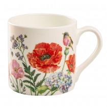 Poppy and Hydrangea Bone China Coffee Mugs, Set of 4