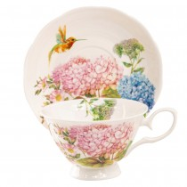 Hydrangea Everlasting Bone China Cups with Saucers, Set of 4