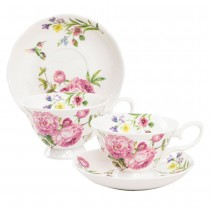 Clime Rose  Bone China Cups with Saucers, Set of 4