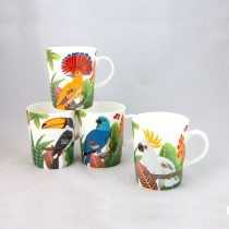 4 Tropical Birds Bone China Mugs, Set of 4