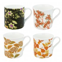 4 Associate Black Gold Autumn  Mugs, Set of 4