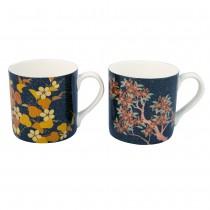 2 Associate Black Gold Autumn  Mugs, Set of 4