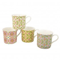 4 Asst Tile Floral Vine Mugs, Set of 4
