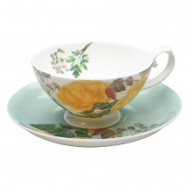 2 Assort Yellow Rose Tea Cup and Saucer, Set of 4