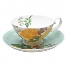 2 Assort Yellow Rose Tea Cup and Saucer, Set of 4